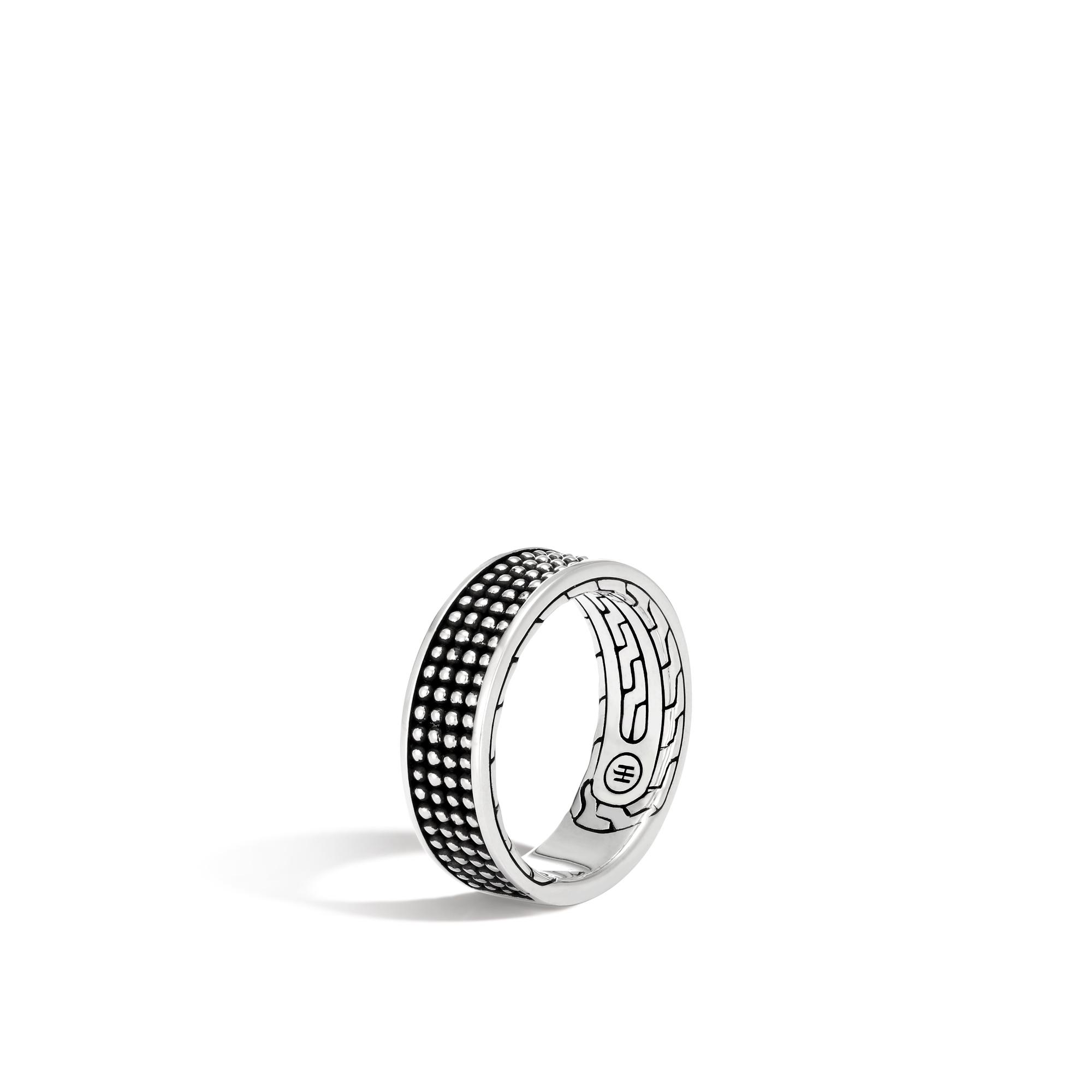 John Hardy: Sterling Silver With Black Rhodium  7.5mm Jawan Band Ring Size 10