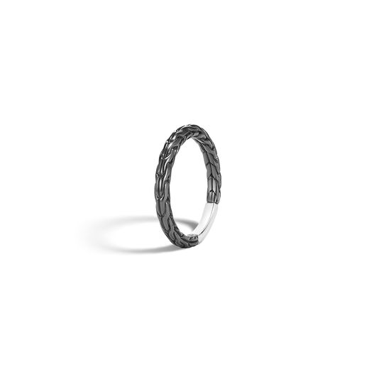 John Hardy: Black Rhodium Plated Sterling Silver 2.5mm Classic Chain  Ring Size 7