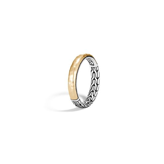 John Hardy: Sterling Silver & 14KyTwo-Tone 3.5mm Classic Chain Hammered Band  Ring Size 7