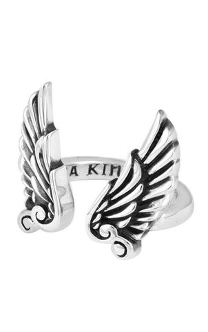 King Baby: Sterling Silver Open Ring With Wings Ring Size 7