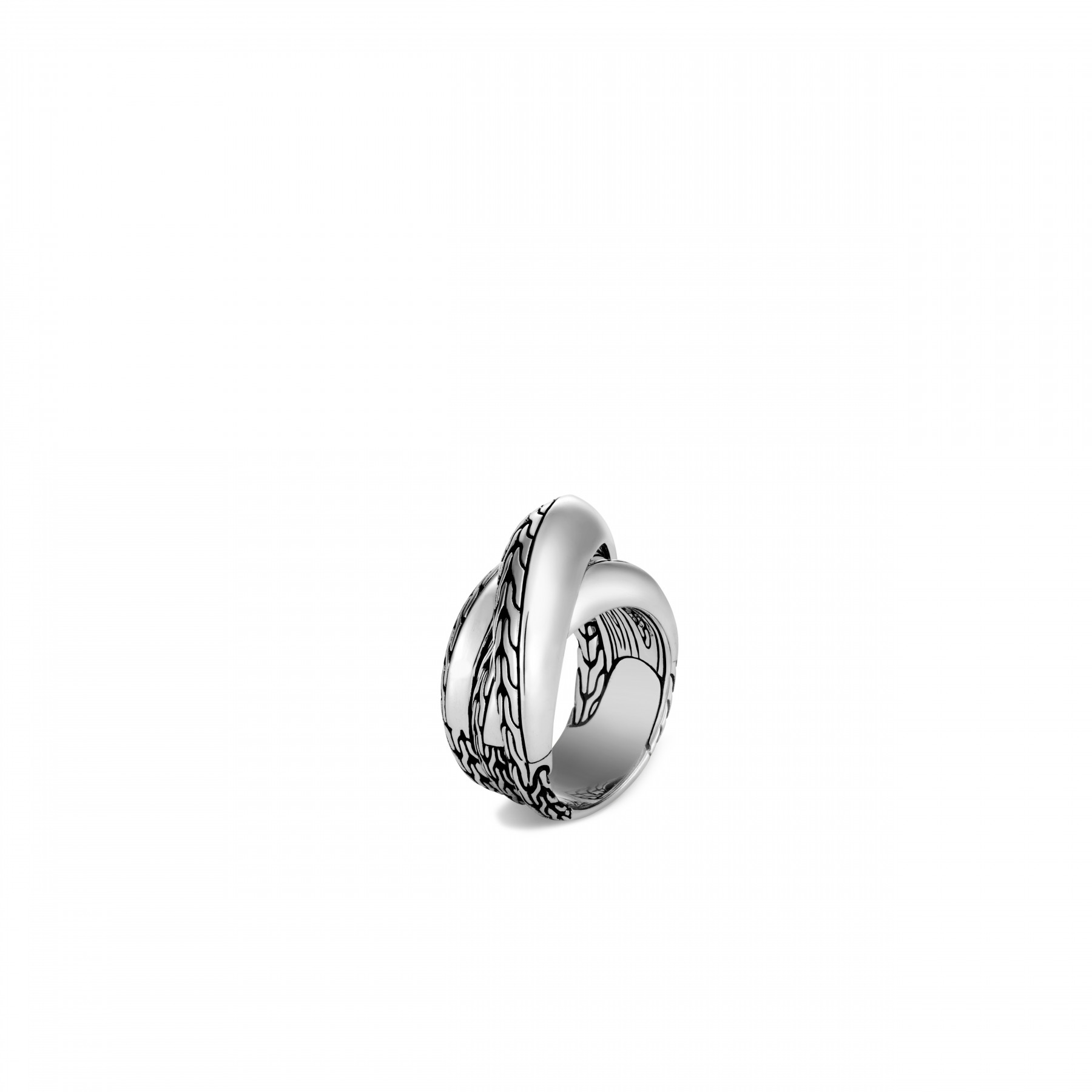 John Hardy: Sterling Silver Classic Chain Knife Edge Crossover Ring