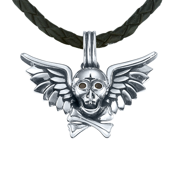 Sterling Silver Pendant With 2=0.08Tw Round Diamonds Skull, Crossbones and Angel Wings Pendant on Black Woven Leather Cord Length: 22