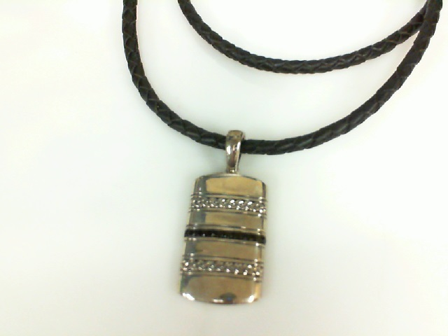 Sterling Silver and Black Spinel Pendant on Black Woven Leather Cord 22
