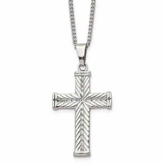 Sterling Silver Textured Cross With 22 inch Chain