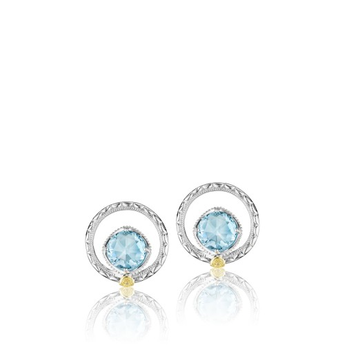 Tacori: Sterling Silver & 18 Karat Gold Earrings Island Rains  Blue Topaz