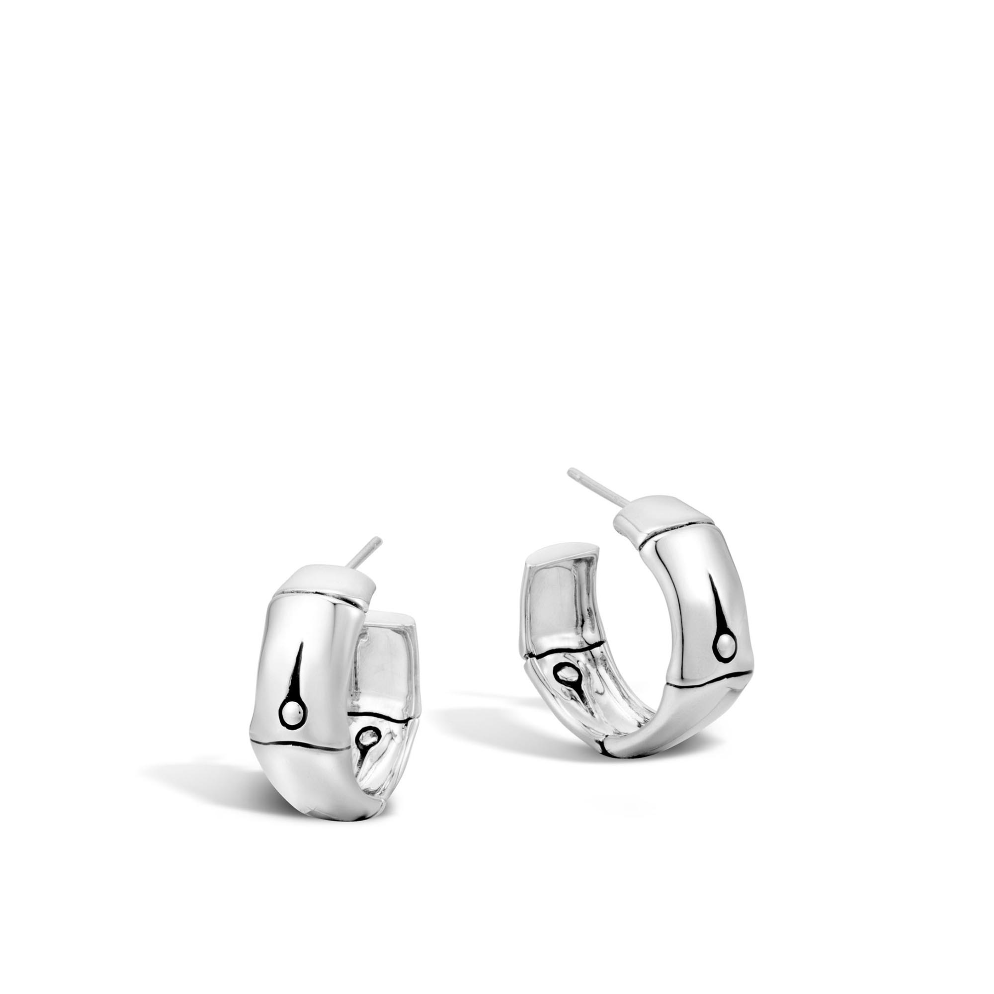 John Hardy: Sterling Silver Bamboo Small Hoop Earrings