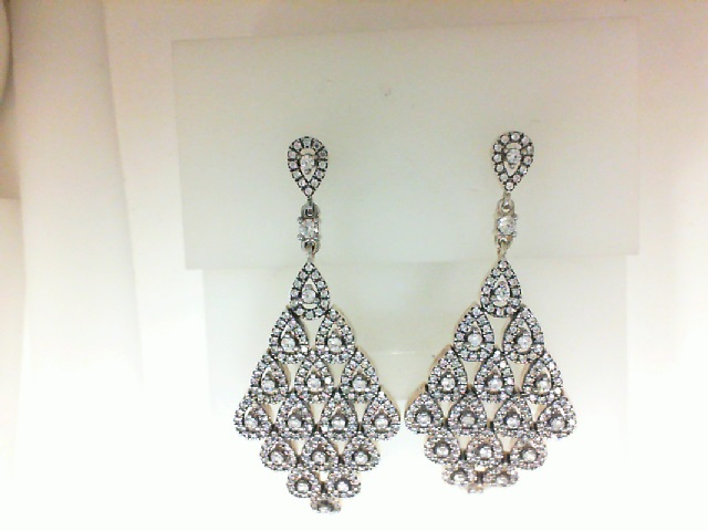 Sterling Silver And Cubic Zirconia Dangle Earrings  / No Orders