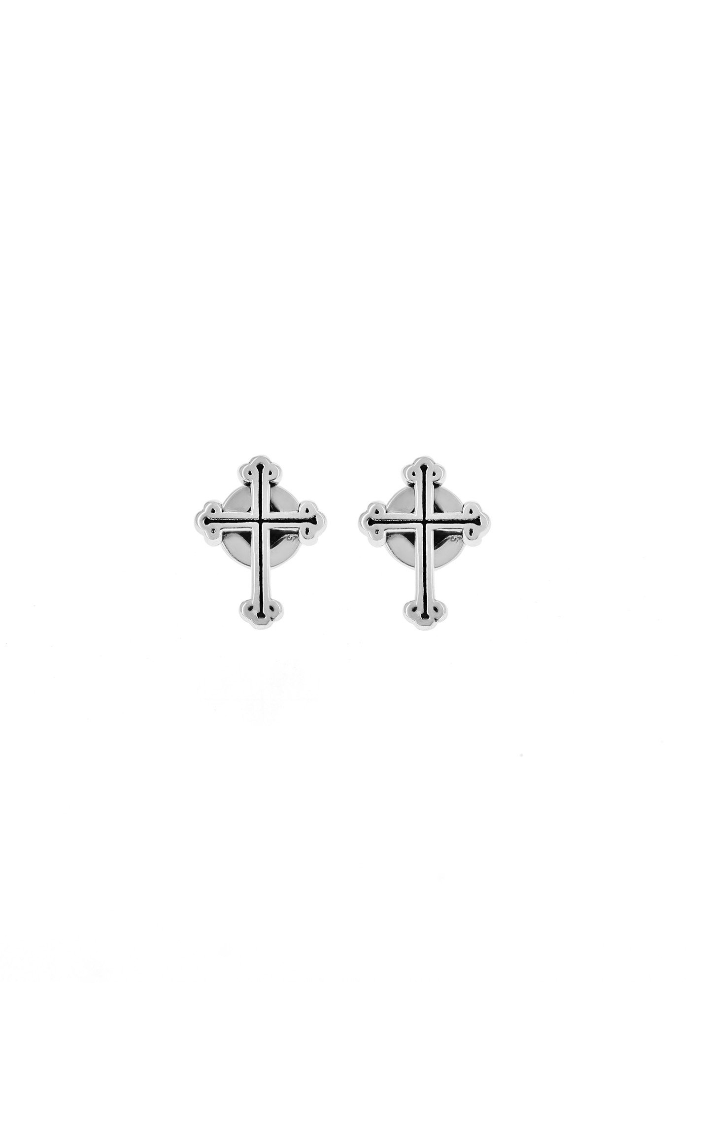 King Baby: Sterling Silver King Baby Micro Traditional Cross Earrings