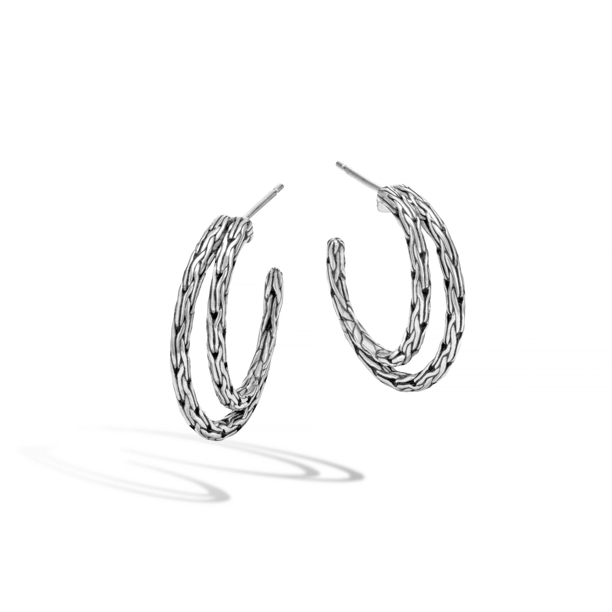 John Hardy: Sterling Silver  Classic Chain Small Hoop Earrings