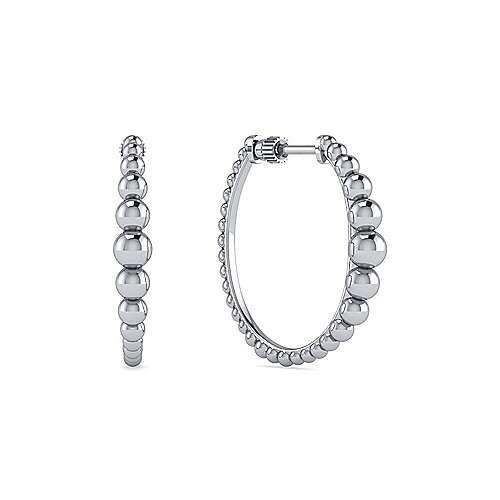 Gabriel&Co: Sterling Silver 25MM Beaded Classic Hoop Earrings