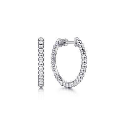 Gabriel & Co: Sterling Silver 20MM Beaded Classic Hoop Earrings