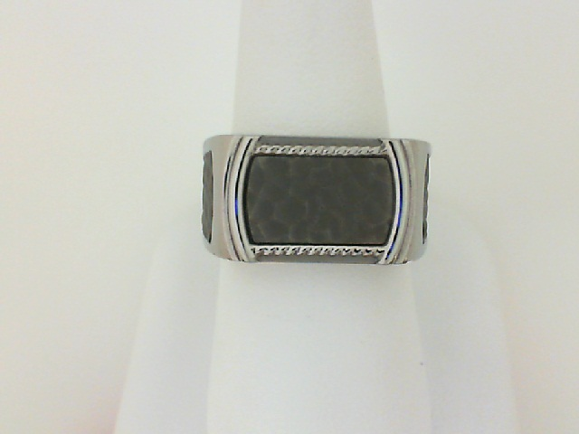 Triton: Stainless Steel Signet Ring With Titanium Inlay