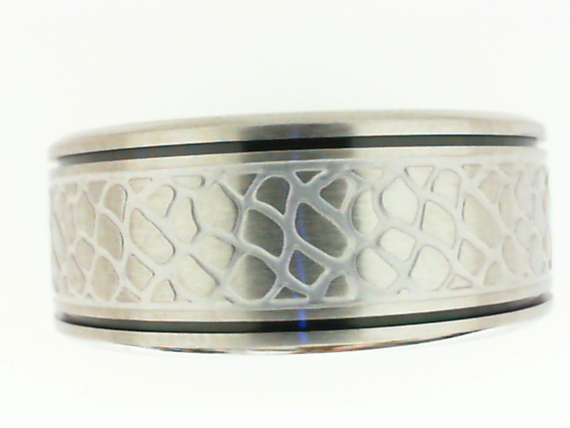 Triton: Stainless Steel 9.5mm Band With Faux Nugget Design & Black Detail  Size 10