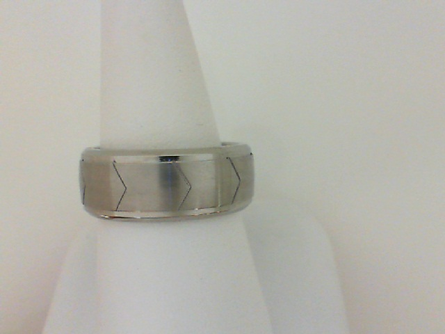 Triton: Stainless Steel 9mm Satin & Polished Band With Pattern Design Size 10