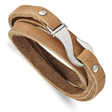 Name: Light Brown Leather Bracelet With Stainless Steel Clasp