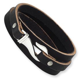 Stainless Steel Bracelet Name: Black Leather Length: 24