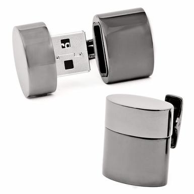 Base Metal Polished  Gunmetal Plated Oval USB Cufflinks