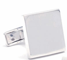 Sterling Silver Polished Infinity Edge Square Cufflinks 17x17mm