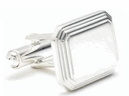 Sterling Silver Engraved Rectangular Engravable Cufflinks