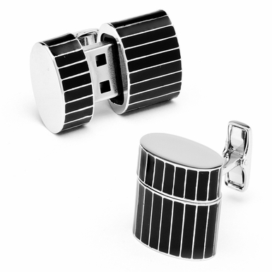 Base Metal Enamelled  Pinstripe Oval USB 8GB Cufflinks