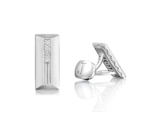 Tacori: Sterling Silver  Retro Classic Cabachon  Cufflinks With 0.26Tw Round Diamonds Serial #: 2068165