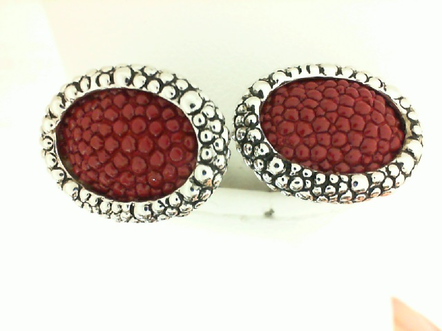 Sterling Silver Oval Red Inlay Cufflink